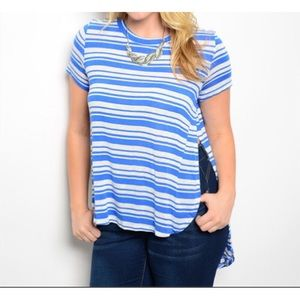Tops - Plus Size Stripe Blue White Top